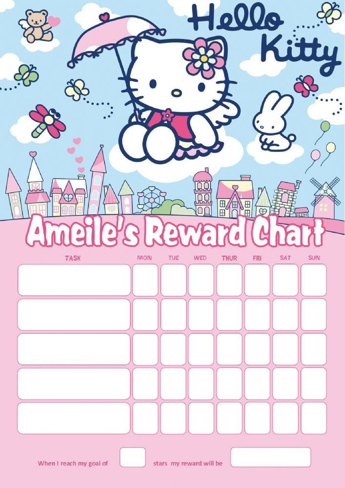 Personalised Hello Kitty Reward Chart Adding Photo Option